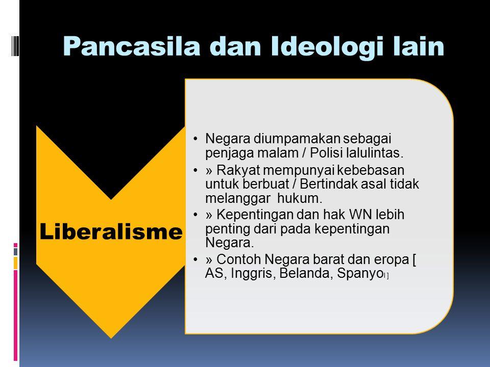 Pancasila dan Ideologi lain Liberalisme Negara diumpamakan sebagai penjaga malam / Polisi lalulintas.
