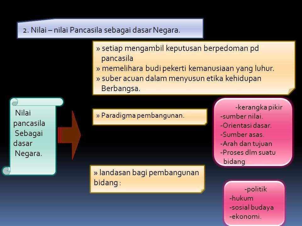 2. Nilai – nilai Pancasila sebagai dasar Negara. Nilai pancasila Sebagai dasar Negara.