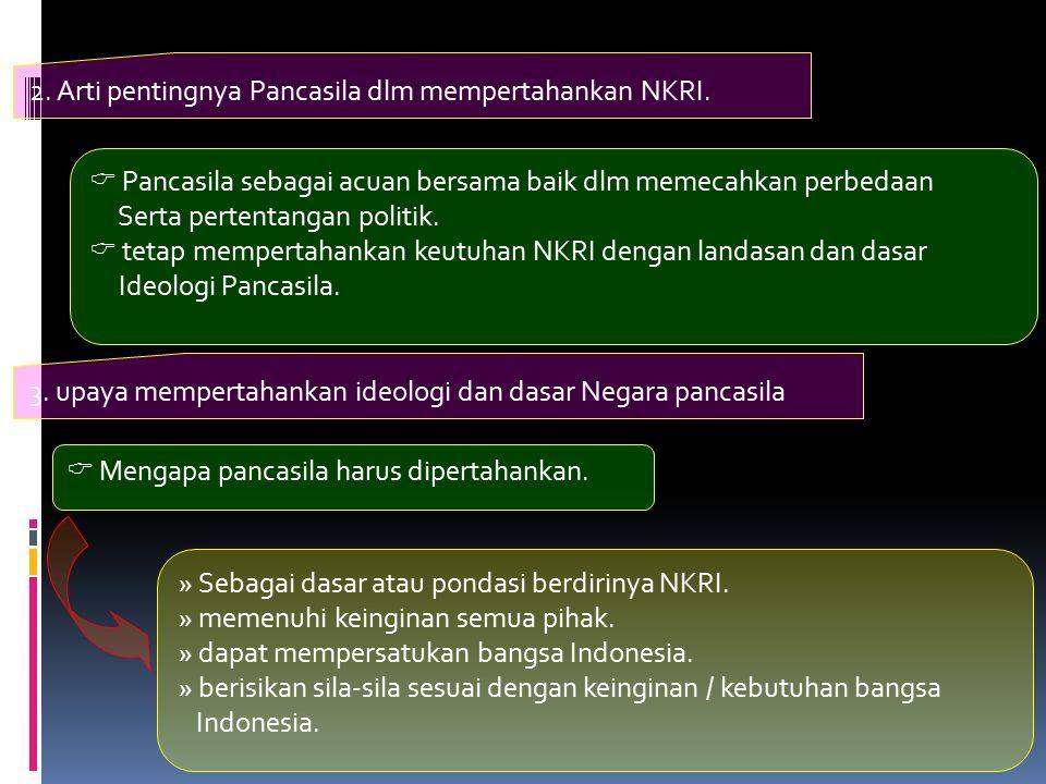 2. Arti pentingnya Pancasila dlm mempertahankan NKRI.