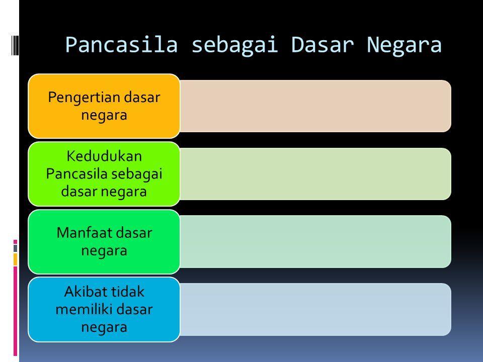 Pancasila sebagai Dasar Negara Pengertian dasar negara Kedudukan Pancasila sebagai dasar negara Manfaat dasar negara Akibat tidak memiliki dasar negara