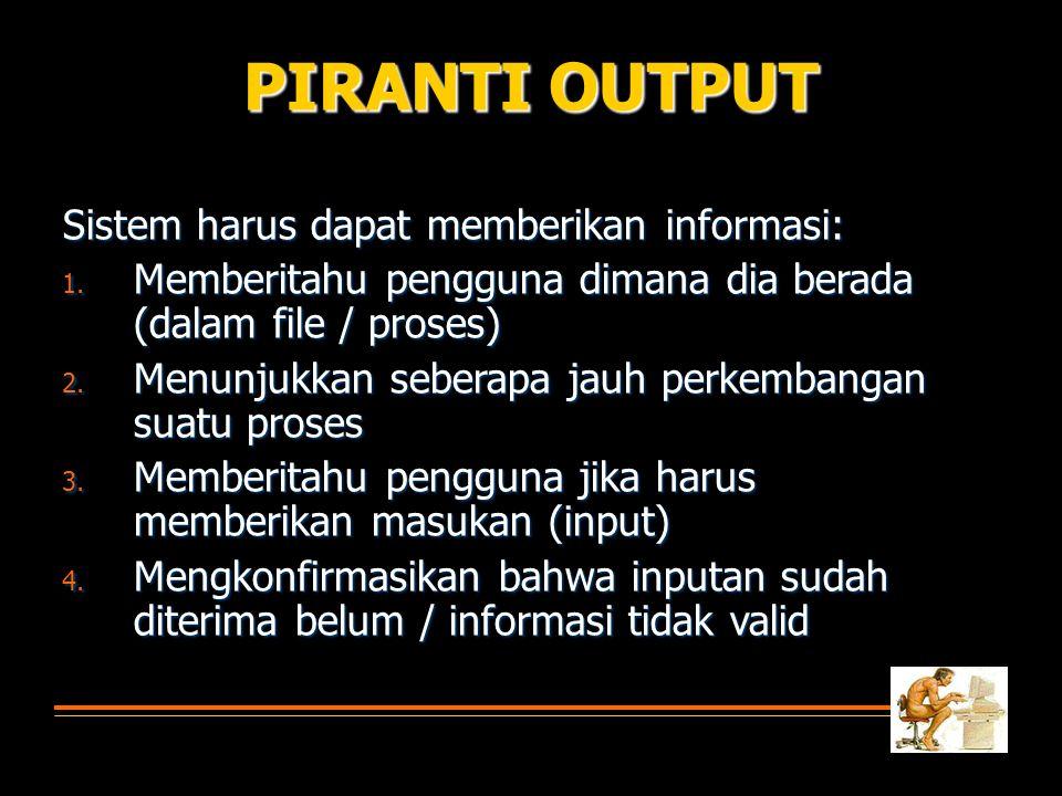 PIRANTI OUTPUT Sistem harus dapat memberikan informasi: 1.