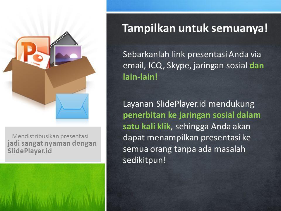 Sebarkanlah link presentasi Anda via email, ICQ, Skype, jaringan sosial dan lain-lain! Layanan SlidePlayer.id mendukung penerbitan ke jaringan sosial