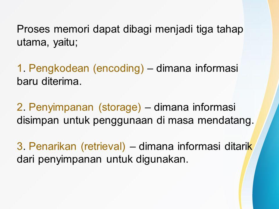 Proses memori dapat dibagi menjadi tiga tahap utama, yaitu; 1. Pengkodean (encoding) – dimana informasi baru diterima. 2. Penyimpanan (storage) – dima