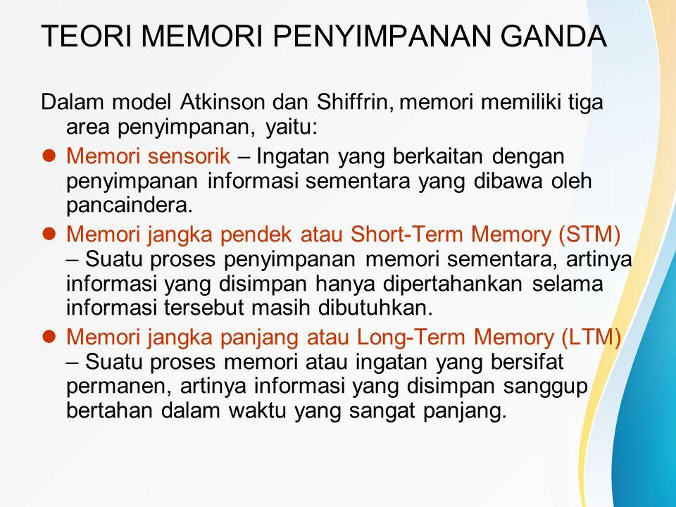 TEORI MEMORI PENYIMPANAN GANDA Dalam model Atkinson dan Shiffrin, memori memiliki tiga area penyimpanan, yaitu:  Memori sensorik – Ingatan yang berka