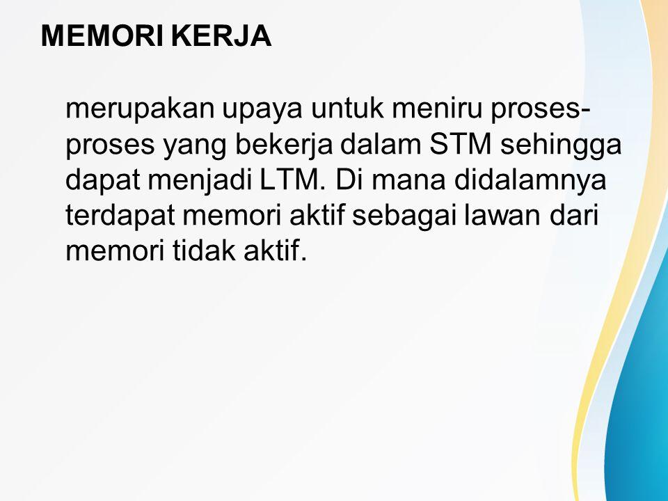 MEMORI KERJA merupakan upaya untuk meniru proses- proses yang bekerja dalam STM sehingga dapat menjadi LTM. Di mana didalamnya terdapat memori aktif s