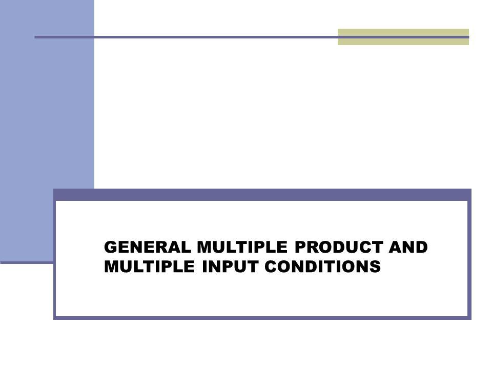 Many Input and a Single Output Fungsi produksi dengan n input variabel dapat ditulis : Masing-masing x merepresentasikan salah satu input spesifik yang digunakan pada fungsi produksi, dan y adalah output dari perusahaan pertanian atau peternakan Persamaan biaya dari n input variabel yang digunakan petani pada