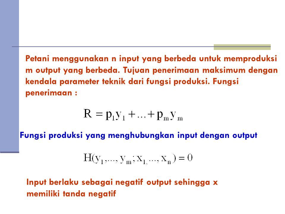 Petani menggunakan n input yang berbeda untuk memproduksi m output yang berbeda.