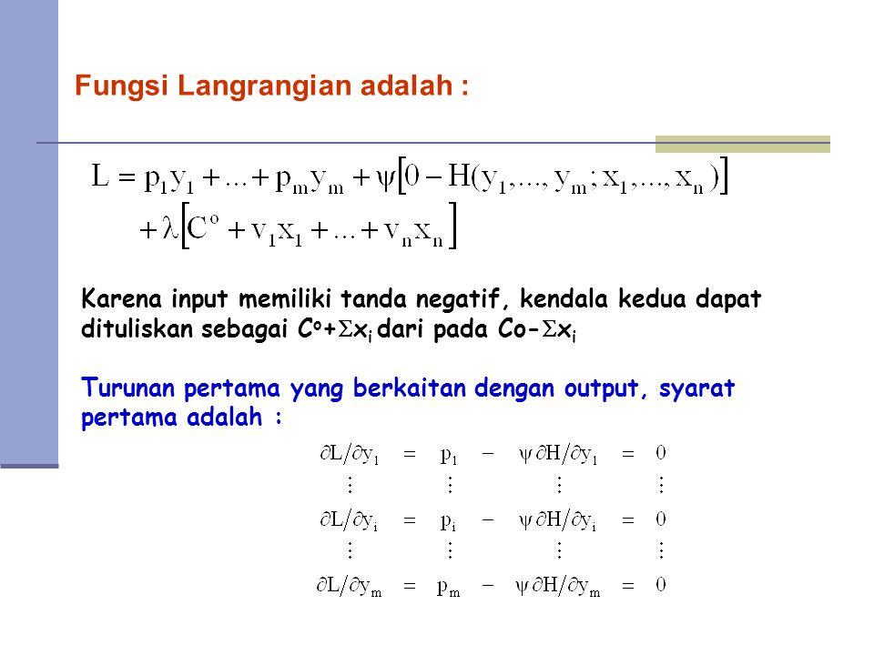 Fungsi Langrangian adalah : Karena input memiliki tanda negatif, kendala kedua dapat dituliskan sebagai C o +  x i dari pada Co-  x i Turunan pertama yang berkaitan dengan output, syarat pertama adalah :