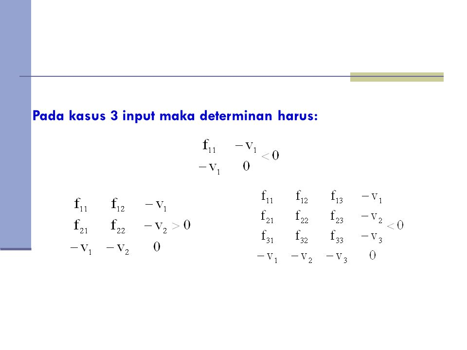 Pada kasus 3 input maka determinan harus:
