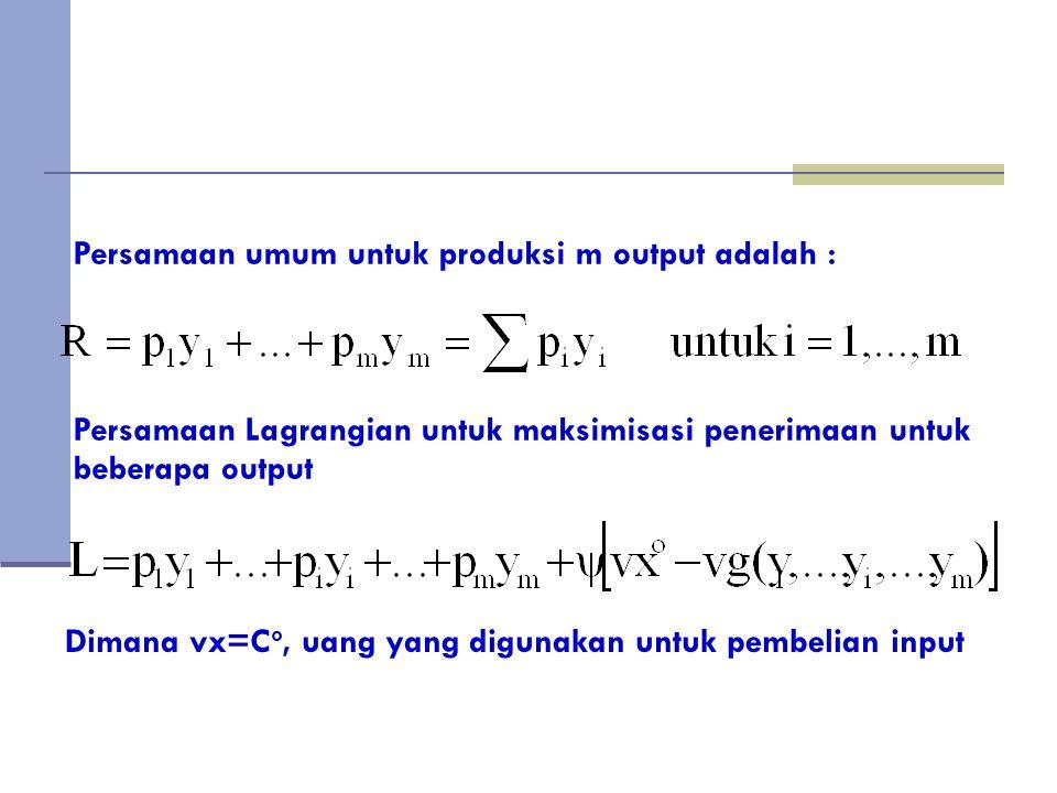 Turunan pertama dari kendala maksimisasi penerimaan pada kasus produksi beberapa output mensyaratkan : Dimana v adalah harga input Jika Lagrangian Multiplier  =1, maka maksimisasi profit tercapai