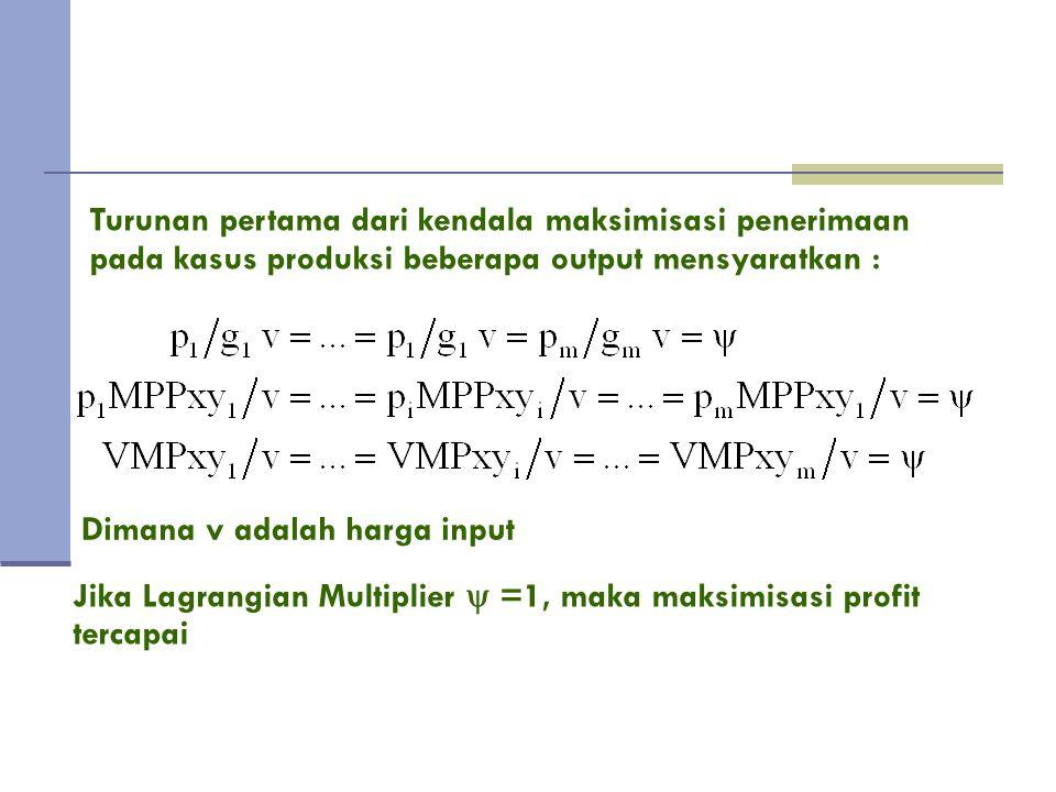 Untuk setiap output : Slope isorevenue = slope fungsi transformasi produk.