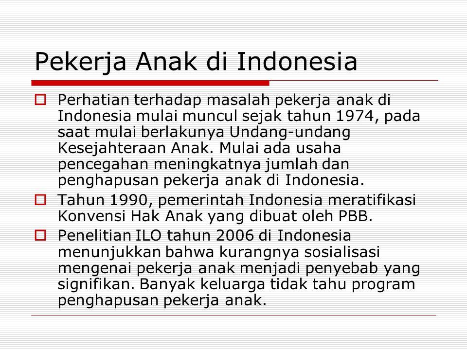 Pekerja Anak di Indonesia  Perhatian terhadap masalah pekerja anak di Indonesia mulai muncul sejak tahun 1974, pada saat mulai berlakunya Undang-unda
