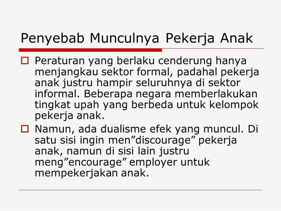 Penyebab Munculnya Pekerja Anak  Peraturan yang berlaku cenderung hanya menjangkau sektor formal, padahal pekerja anak justru hampir seluruhnya di sektor informal.