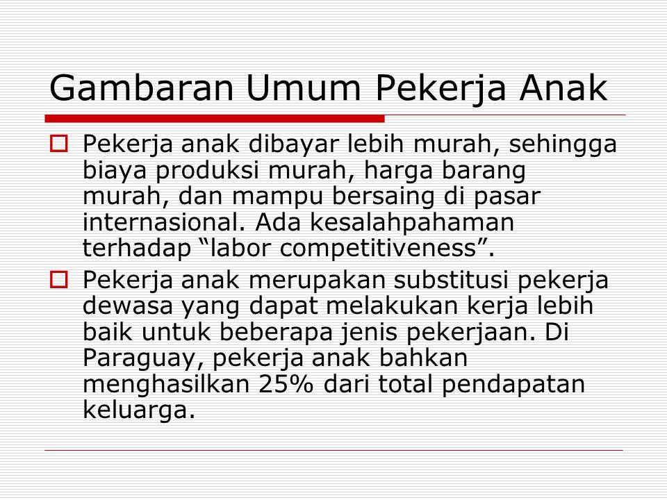 Definisi Pekerja Anak  Definisi pekerja anak = anak berusia di bawah usia kerja (5-14 tahun) yang melakukan aktifitas ekonomi (menerima bayaran) dan non-market production (tidak dibayar).
