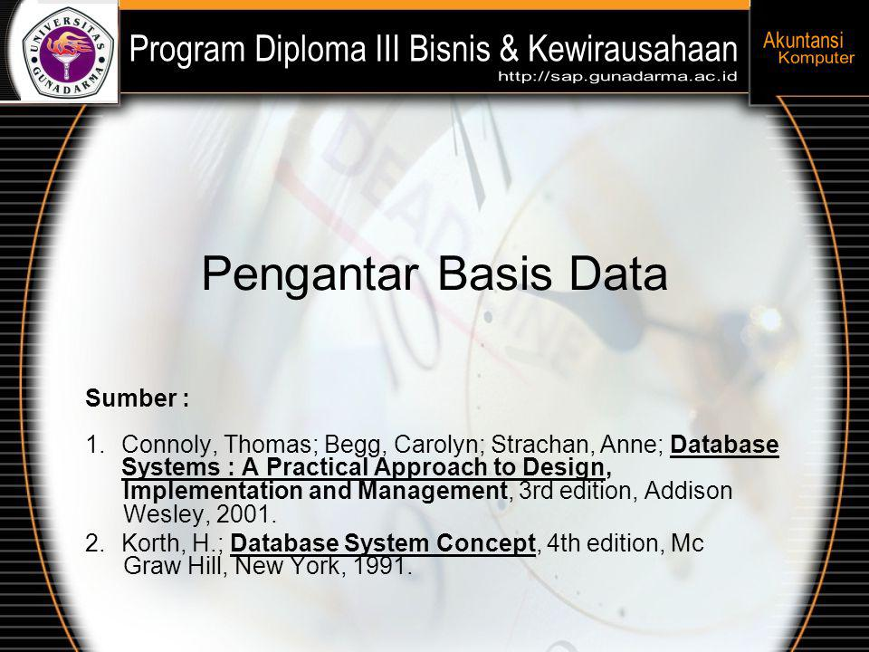 Pengantar Basis Data Sumber : 1.Connoly, Thomas; Begg, Carolyn; Strachan, Anne; Database Systems : A Practical Approach to Design, Implementation and Management, 3rd edition, Addison Wesley, 2001.