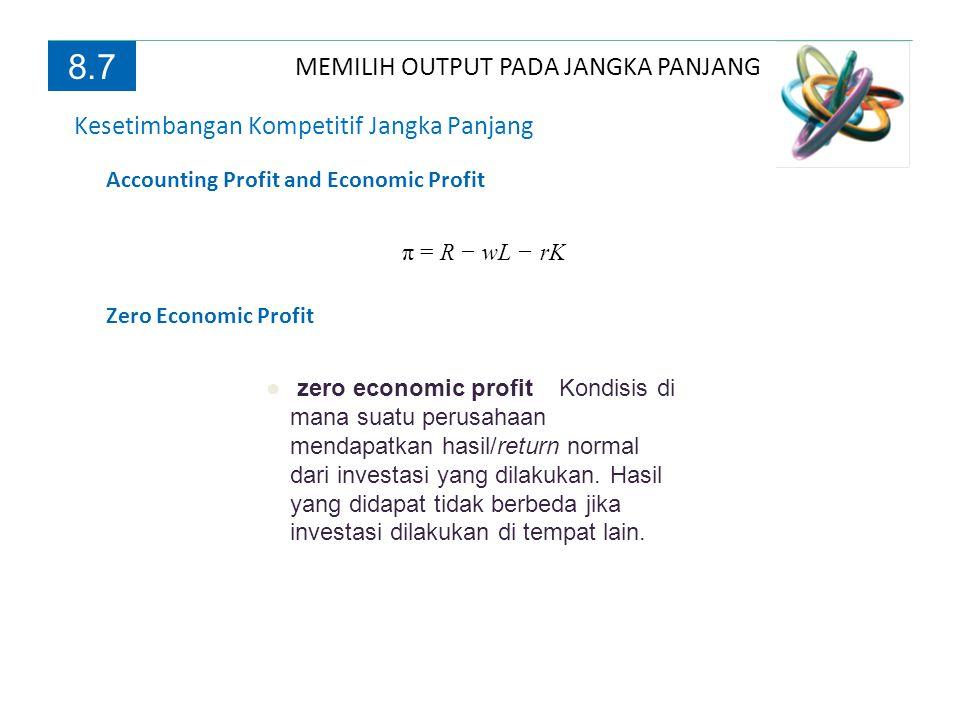 MEMILIH OUTPUT PADA JANGKA PANJANG 8.7 Kesetimbangan Kompetitif Jangka Panjang Accounting Profit and Economic Profit π = R − wL − rK Zero Economic Pro