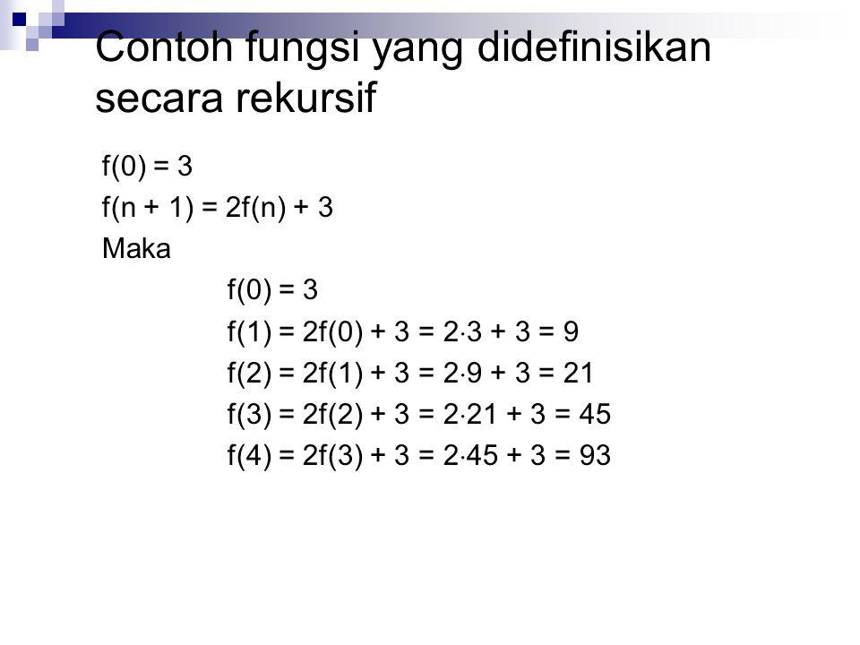 f(0) = 3 f(n + 1) = 2f(n) + 3 Maka f(0) = 3 f(1) = 2f(0) + 3 = 2  3 + 3 = 9 f(2) = 2f(1) + 3 = 2  9 + 3 = 21 f(3) = 2f(2) + 3 = 2  21 + 3 = 45 f(4)