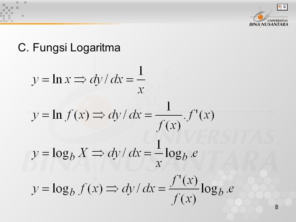 8 C. Fungsi Logaritma