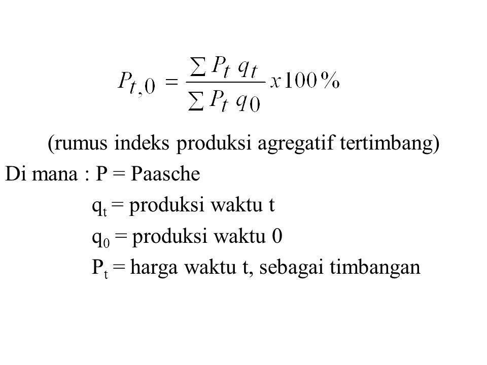 (rumus indeks produksi agregatif tertimbang) Di mana : P = Paasche q t = produksi waktu t q 0 = produksi waktu 0 P t = harga waktu t, sebagai timbanga
