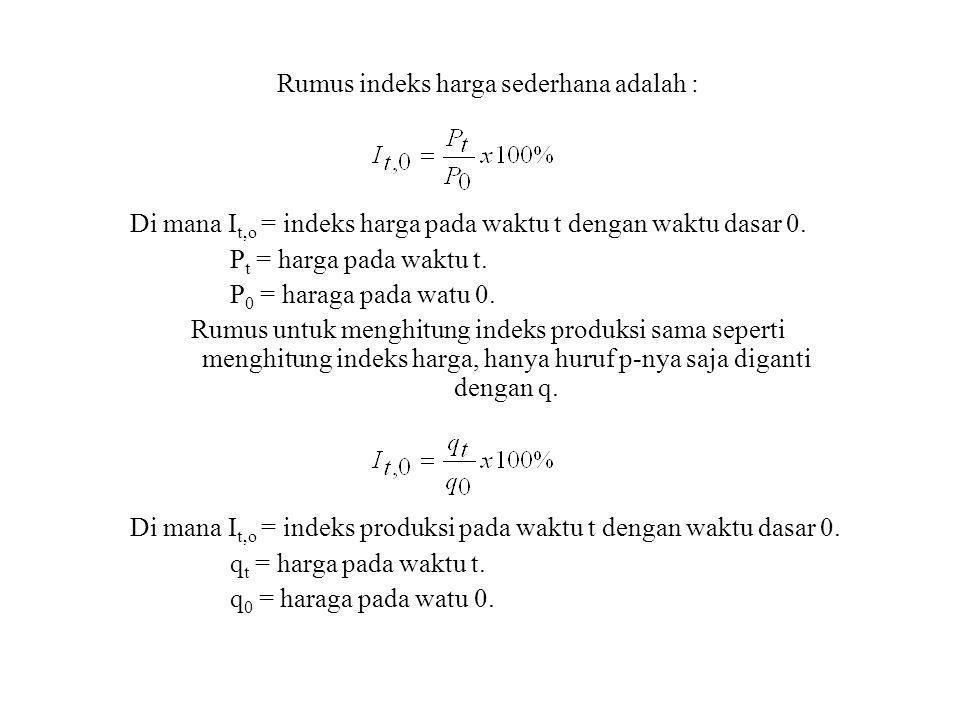 Rumus indeks harga sederhana adalah : Di mana I t,o = indeks harga pada waktu t dengan waktu dasar 0. P t = harga pada waktu t. P 0 = haraga pada watu
