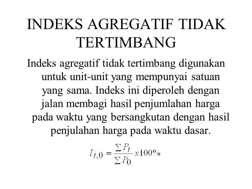 INDEKS AGREGATIF TIDAK TERTIMBANG Indeks agregatif tidak tertimbang digunakan untuk unit-unit yang mempunyai satuan yang sama. Indeks ini diperoleh de