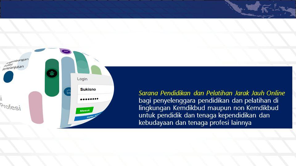 Sarana Pendidikan dan Pelatihan Jarak Jauh Online bagi penyelenggara pendidikan dan pelatihan di lingkungan Kemdikbud maupun non Kemdikbud untuk pendi