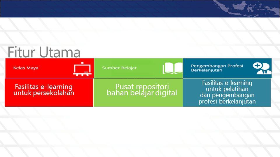 Fasilitas e-learning untuk persekolahan Pusat repositori bahan belajar digital Fasilitas e-learning untuk pelatihan dan pengembangan profesi berkelanj