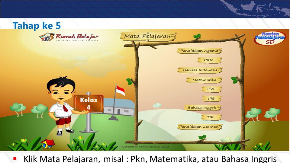  Klik Mata Pelajaran, misal : Pkn, Matematika, atau Bahasa Inggris Tahap ke 5