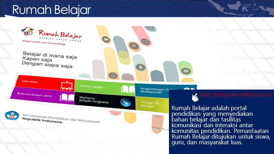 Rumah Belajar http://belajar.kemdikbud.go.id Rumah Belajar adalah portal pendidikan yang menyediakan bahan belajar dan fasilitas komunikasi dan intera