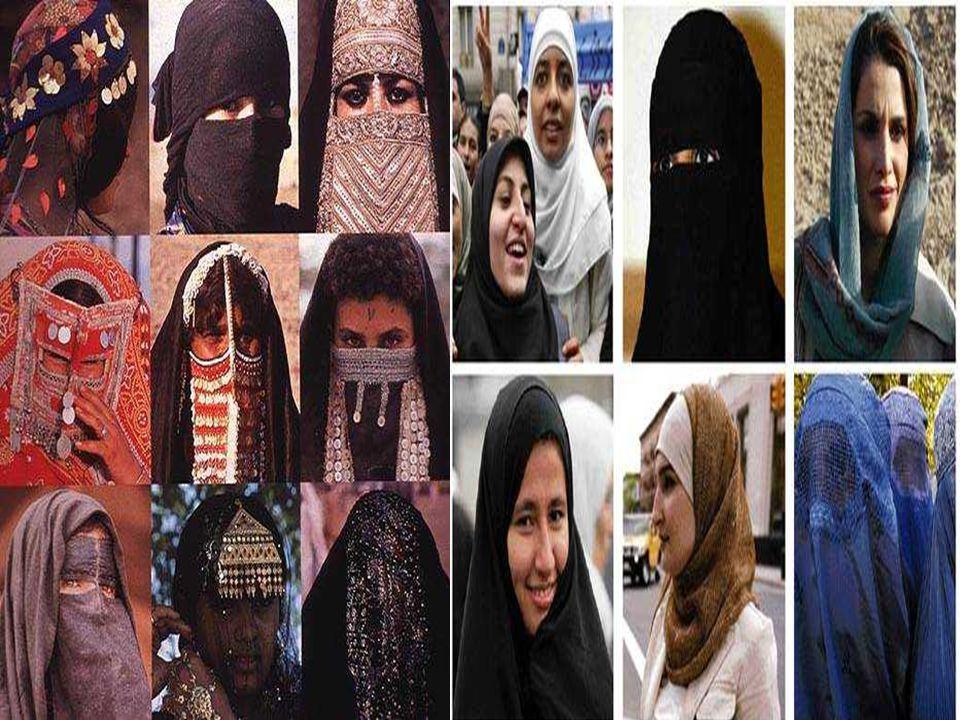 HIJAB: Kerudung khas wanita Arab. Bagian muka terbuka dan banyak wanita memakainya sebagai status identitas. BURKA: Menutup seluruh badan. Kasa kanvas