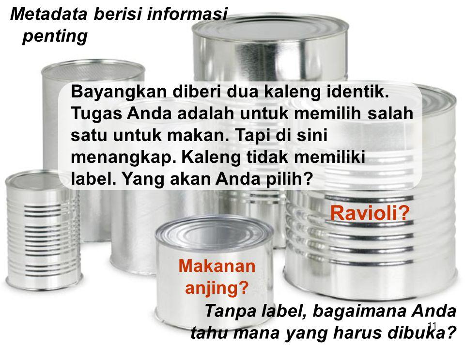 Metadata berisi informasi penting Tanpa label, bagaimana Anda tahu mana yang harus dibuka? Makanan anjing? Ravioli? Bayangkan diberi dua kaleng identi
