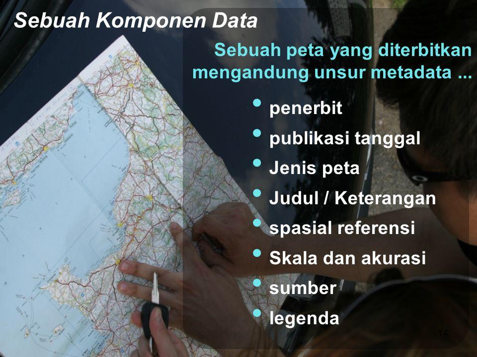 Sebuah peta yang diterbitkan mengandung unsur metadata... • penerbit • publikasi tanggal • Jenis peta • Judul / Keterangan • spasial referensi • Skala