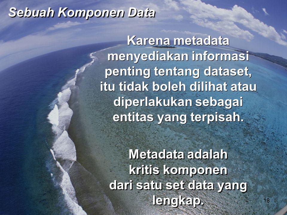 Karena metadata menyediakan informasi penting tentang dataset, itu tidak boleh dilihat atau diperlakukan sebagai entitas yang terpisah. Metadata adala