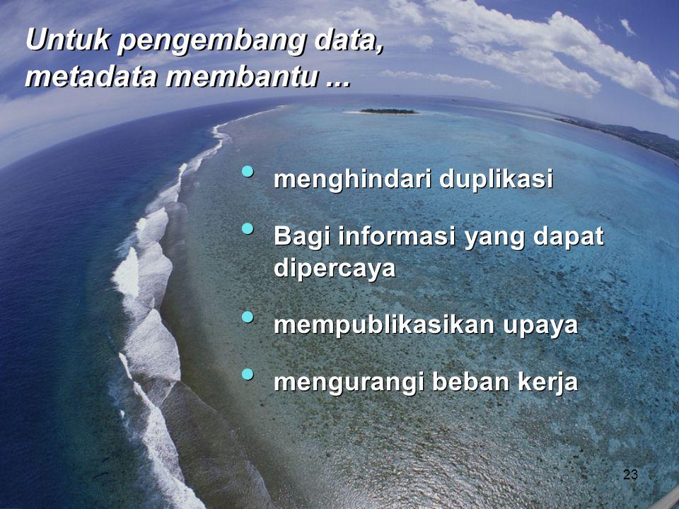 • menghindari duplikasi • Bagi informasi yang dapat dipercaya • mempublikasikan upaya • mengurangi beban kerja • menghindari duplikasi • Bagi informas
