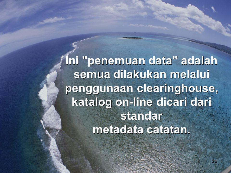 Ini penemuan data adalah semua dilakukan melalui penggunaan clearinghouse, katalog on-line dicari dari standar metadata catatan.