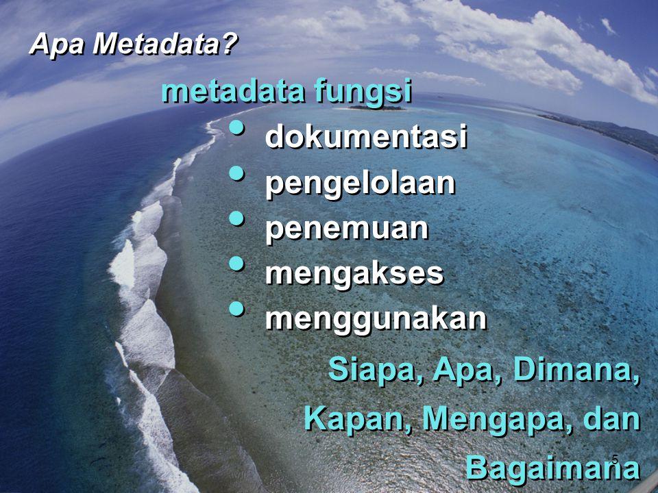 metadata fungsi • dokumentasi • pengelolaan • penemuan • mengakses • menggunakan metadata fungsi • dokumentasi • pengelolaan • penemuan • mengakses •