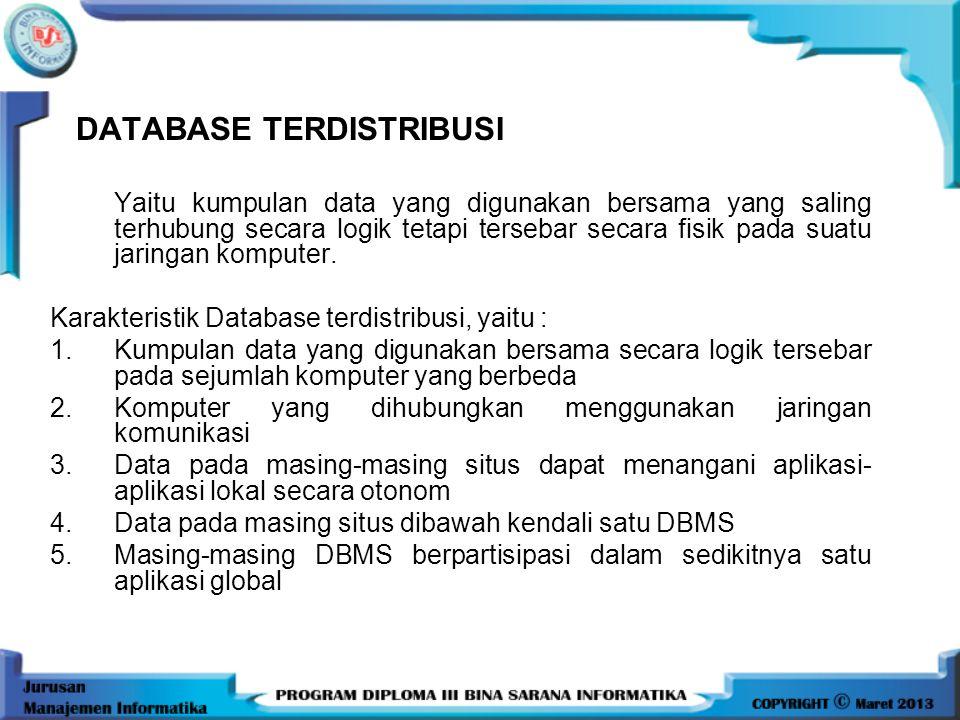 •Data yang digunakan secara bersama- sama dan efisiensi dalam pengaksesan data harus diiringi dengan perkembangan dari sistem basis data terdistribusi