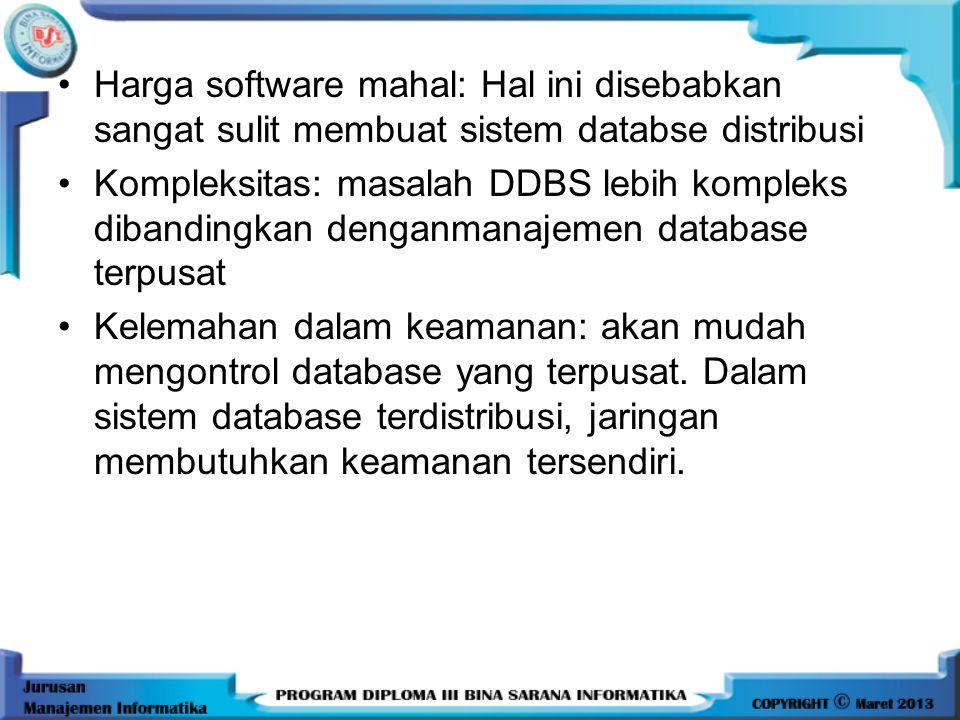 KERUGIAN : 1.Harga software mahal (Biaya) 2.Kompleksitas 3.Kelemahan dalam keamanan 4.Sulitnya menjaga keutuhan data 5.Kurangnya standar 6.Kurangnya p