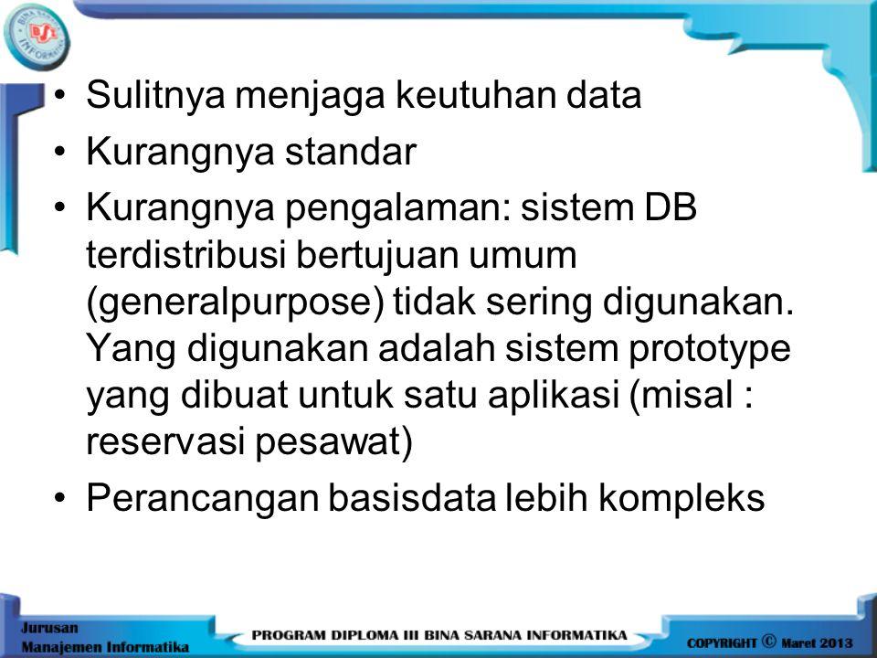 •Harga software mahal: Hal ini disebabkan sangat sulit membuat sistem databse distribusi •Kompleksitas: masalah DDBS lebih kompleks dibandingkan denga