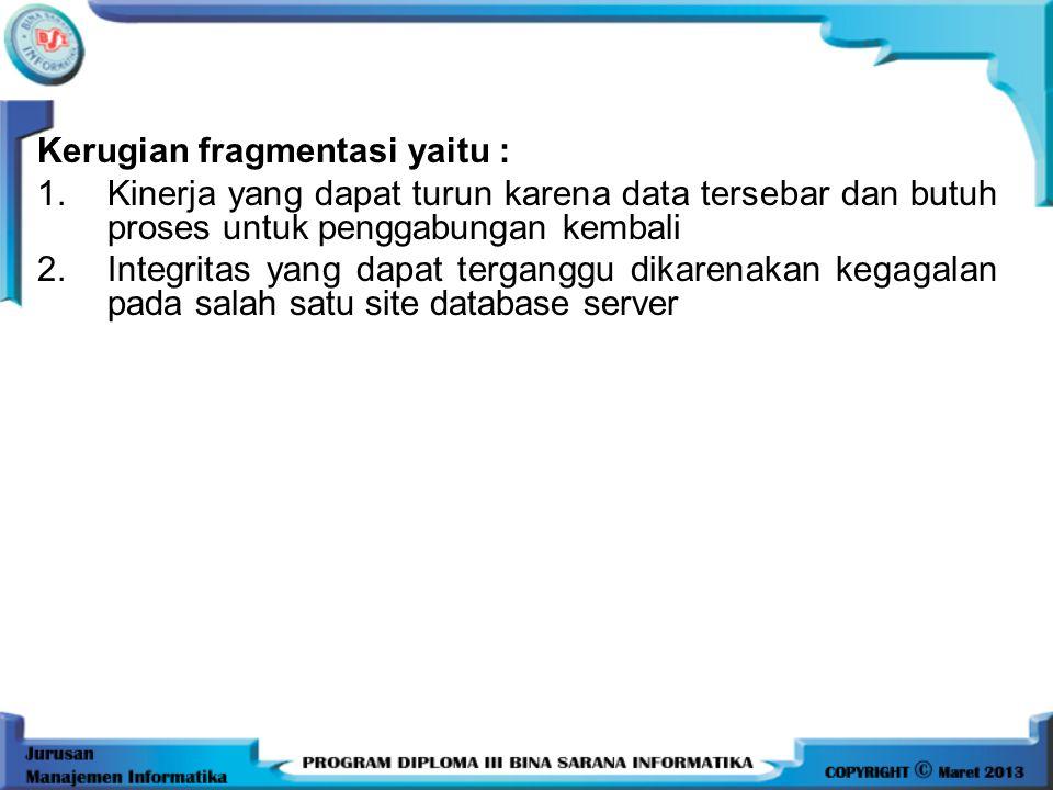 BEBERAPA PERATURAN YANG HARUS DIDEFINISIKAN KETIKA MENDEFINISIKAN FRAGMENT : 1. Kondisi lengkap (Completeness) sebuah unit data yang masih dalam bagia