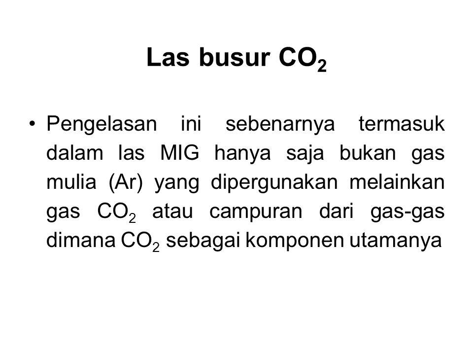 Las busur CO 2 •Pengelasan ini sebenarnya termasuk dalam las MIG hanya saja bukan gas mulia (Ar) yang dipergunakan melainkan gas CO 2 atau campuran da
