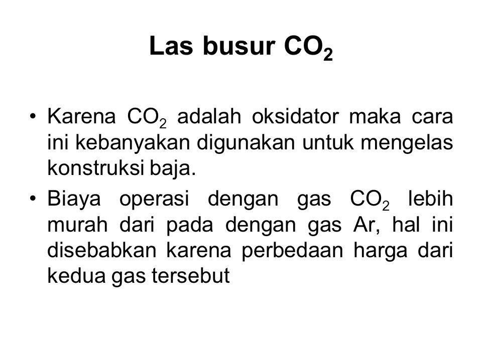 Las busur CO 2 •Karena CO 2 adalah oksidator maka cara ini kebanyakan digunakan untuk mengelas konstruksi baja. •Biaya operasi dengan gas CO 2 lebih m