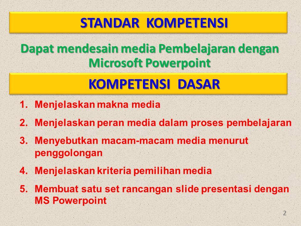 STANDAR KOMPETENSI Dapat mendesain media Pembelajaran dengan Microsoft Powerpoint KOMPETENSI DASAR 1.Menjelaskan makna media 2.Menjelaskan peran media