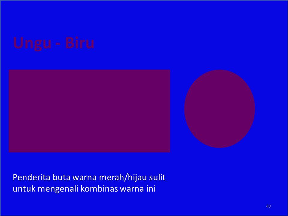 Ungu - Biru Penderita buta warna merah/hijau sulit untuk mengenali kombinas warna ini 40