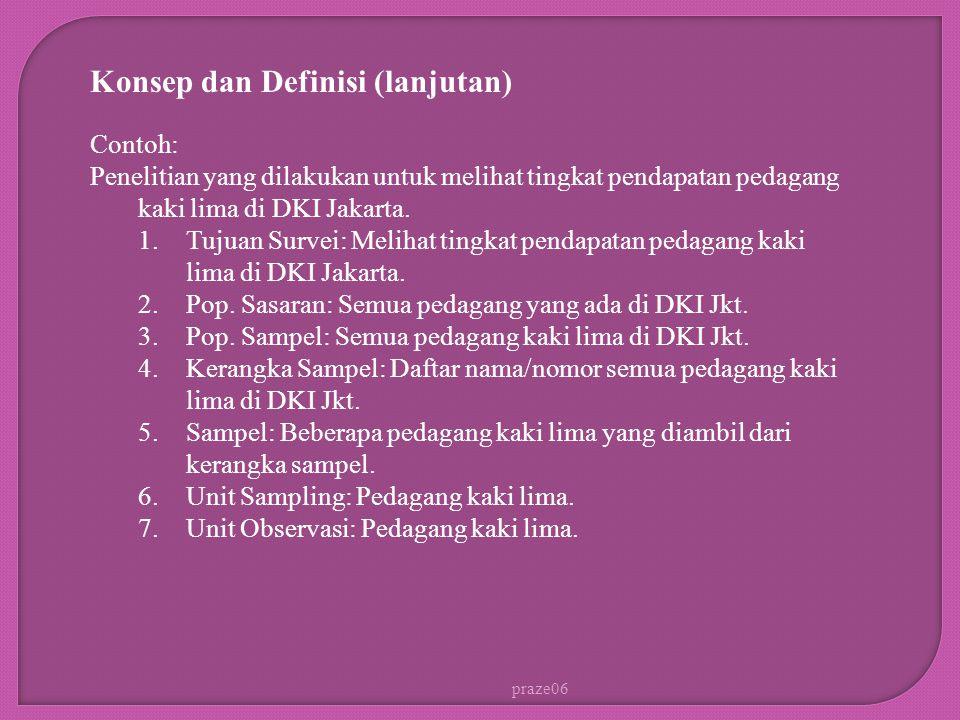 praze06 Contoh: Penelitian yang dilakukan untuk melihat tingkat pendapatan pedagang kaki lima di DKI Jakarta. 1.Tujuan Survei: Melihat tingkat pendapa