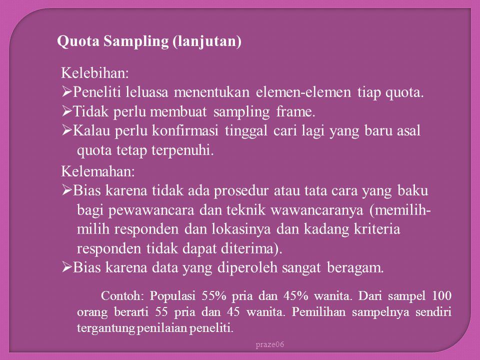 praze06 Quota Sampling (lanjutan) Contoh: Populasi 55% pria dan 45% wanita.