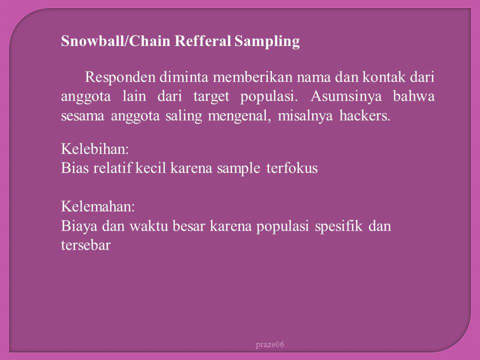 praze06 Snowball/Chain Refferal Sampling Responden diminta memberikan nama dan kontak dari anggota lain dari target populasi. Asumsinya bahwa sesama a