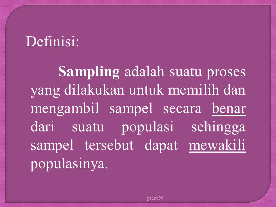 praze06 Sampling adalah suatu proses yang dilakukan untuk memilih dan mengambil sampel secara benar dari suatu populasi sehingga sampel tersebut dapat mewakili populasinya.