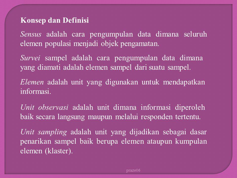 praze06 Konsep dan Definisi Sensus adalah cara pengumpulan data dimana seluruh elemen populasi menjadi objek pengamatan. Survei sampel adalah cara pen