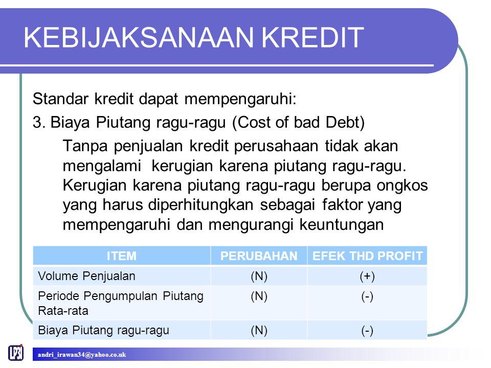 KEBIJAKSANAAN KREDIT Standar kredit dapat mempengaruhi: 3.